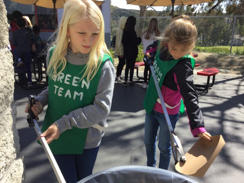 The Revolutionary Shores team from Carmel Del Mar and Del Mar Hills promoted recycling program at school.