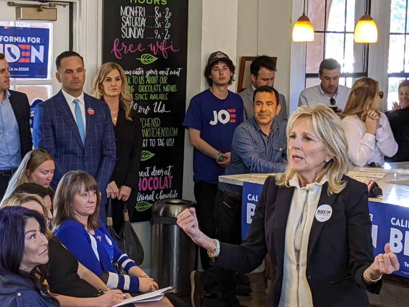 Jill Biden, wife of presidential candidate Joe Biden, talks to supporters at a Liberty Station cafe in San Diego Tuesday.