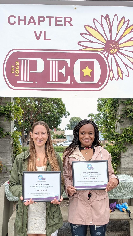 Scholarship recipients Kari Brayall and Tiffany Reece