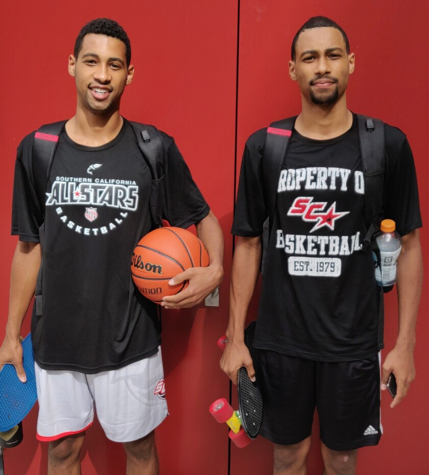 Tyler and Triston Broughton, freshmen brothers from Tesoro High in Orange County, attended open tryouts for SDSU's basketball team on Friday.