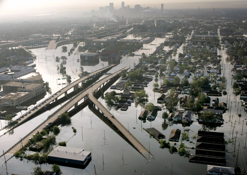 In 2005, floodwaters from Hurricane Katrina inundate New Orleans. The most destructive U.S. hurricanes are increasing in frequency, a new study says.