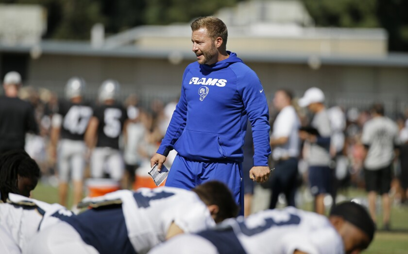 Rams coach Sean McVay watches joint practice with the Oakland Raiders.