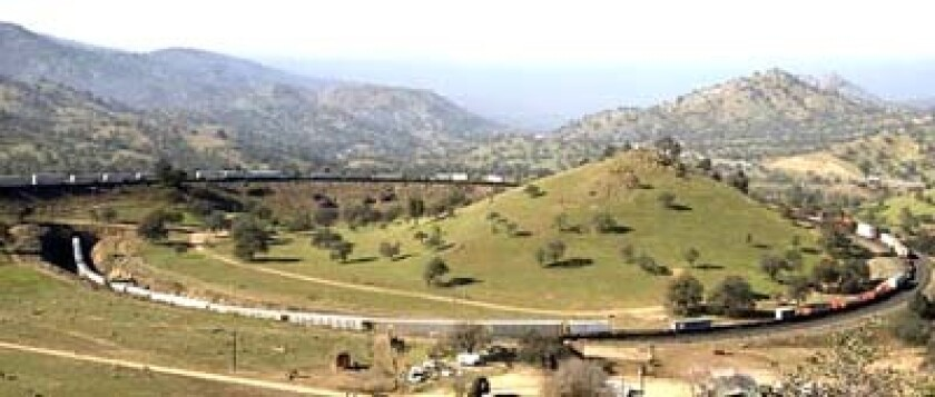 The Tehachapi Loop was built in 1876 to allow trains to cross the Tehachapi Mountains and travel between Los Angeles and the Bay Area.