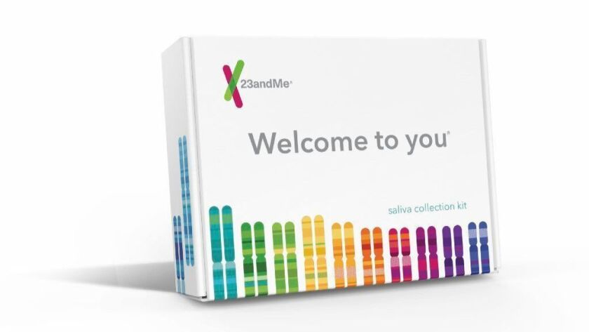 Companies such as 23andMe are promoting genetic testing as a gift item. The company's home-based saliva collection kit is shown here.