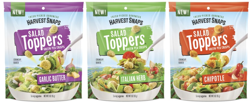 Three flavors of Harvest Snaps pea-based Salad Toppers.