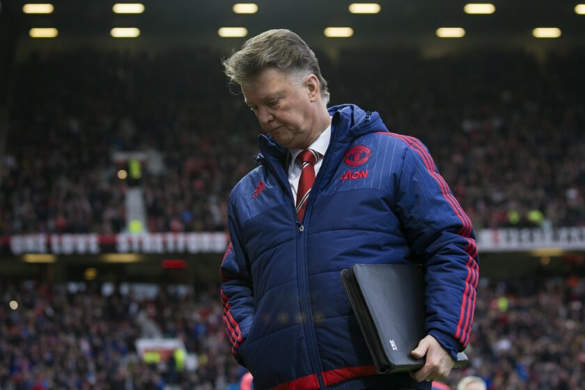 Manchester United's manager Louis van Gaal takes to the touchline before his team's English Premier League soccer match between Manchester United and Southampton at Old Trafford Stadium, Manchester, England, Saturday, Jan. 23, 2016. (AP Photo/Jon Super)