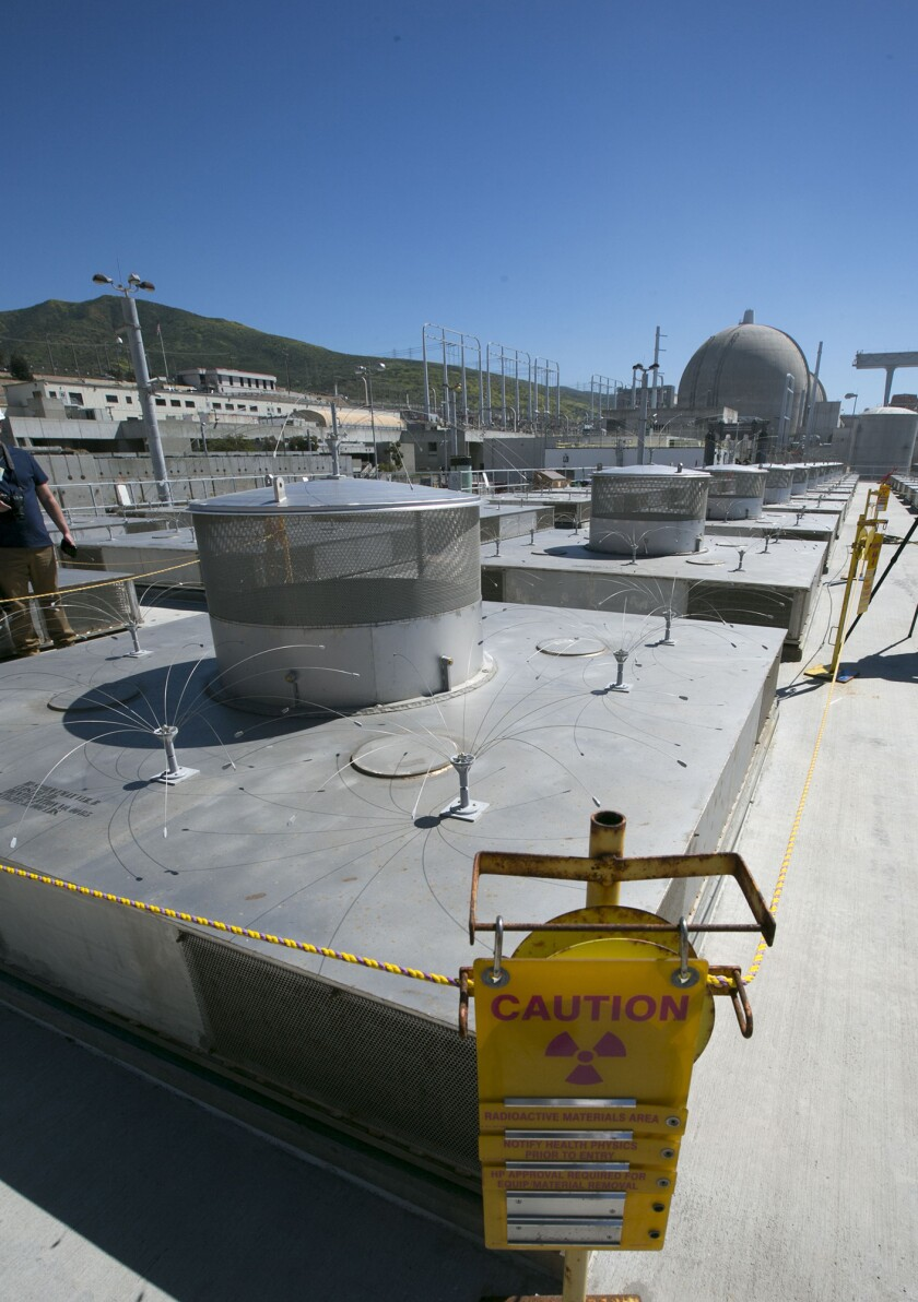 One of the enclosures at the Independent Spent Fuel Storage Installation at the San Onofre Nuclear Generating Station, where canisters containing spent nuclear fuel are lowered.