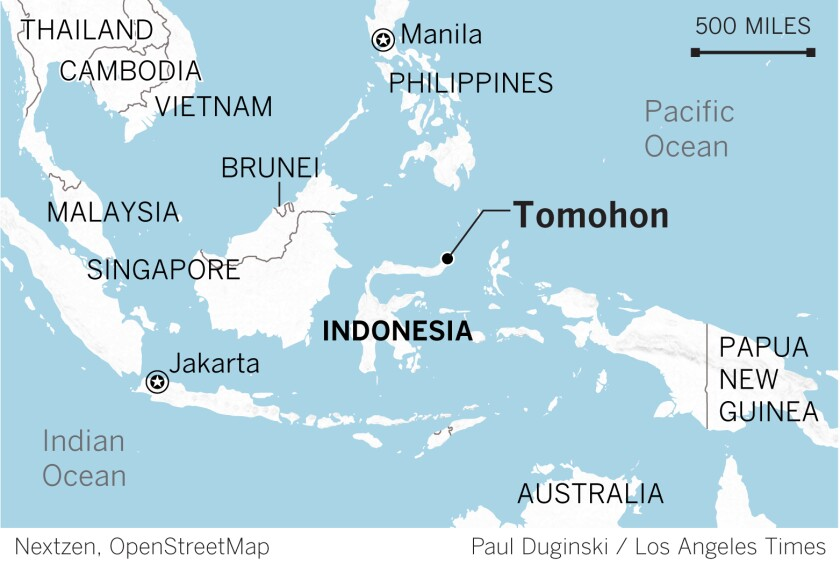 A map of Tomohon, Indonesia