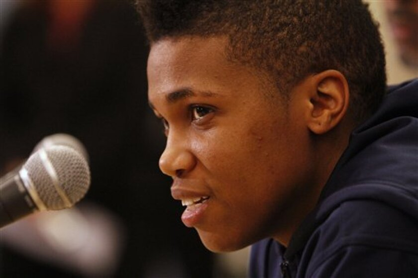 Kye Allums, a female-to-male transgender member of the George Washington women's college basketball team, speaks to the media in Washington, on Wednesday, Nov. 3, 2010. (AP Photo/Jacquelyn Martin)