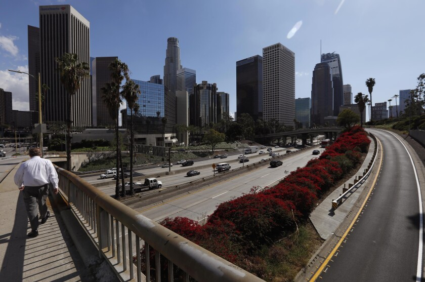 Traffic is light on the 110 Freeway in downtown Los Angeles on March 11