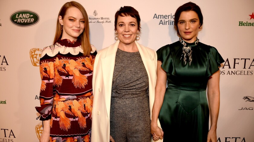 Emma Stone, left, Olivia Colman and Rachel Weisz at the BAFTA Los Angeles Tea Party at Four Seasons Hotel Los Angeles at Beverly Hills on Jan. 5.
