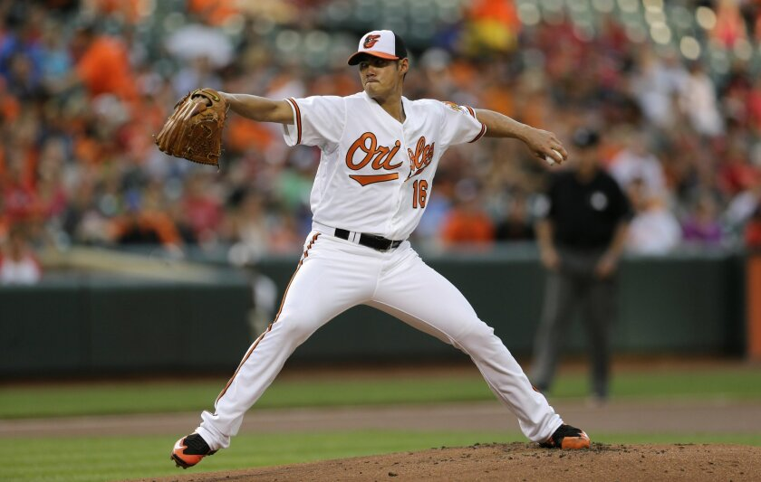 Baltimore Orioles starting pitcher Wei-Yin Chen, of Taiwan, throws to the Philadelphia Phillies in the first inning of an interleague baseball game, Monday, June 15, 2015, in Baltimore. (AP Photo/Patrick Semansky)