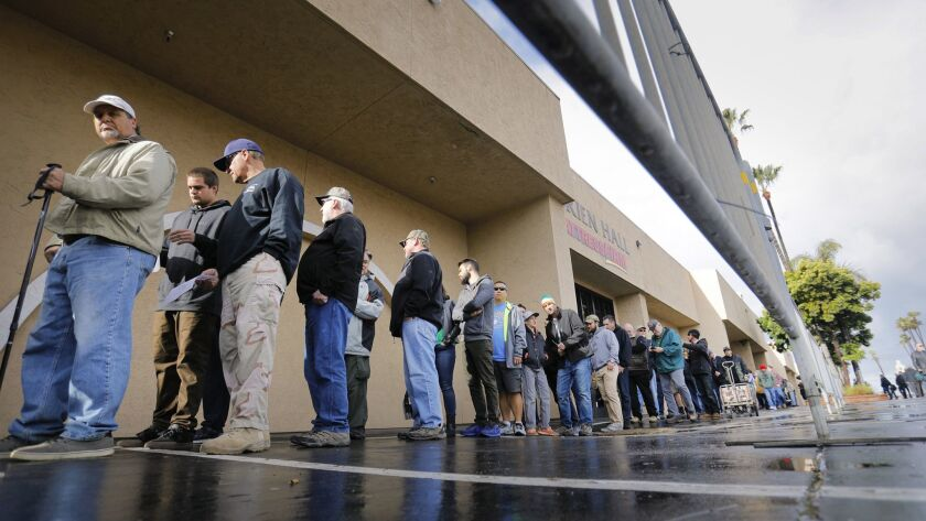 DEL MAR, CA: MARCH 17, 2018: Crossroads of the West Gun Show customers wait in line for the show to