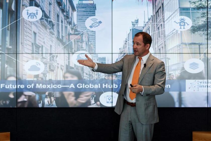 Richard Sear, senior VP at US-based consultants Frost & Sullivan, says during a presentation in Mexico City on March 19, 2019, that a new report shows that Mexico has the potential to become a world pioneer in technological innovation. EFE-EPA/Jose Mendez.