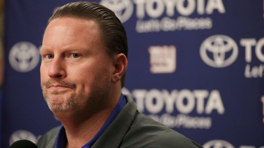 Ben McAdoo speaks at a news conference after the New York Giants' loss to the Oakland Raiders on Dec. 3.