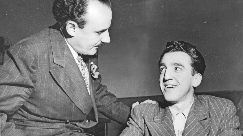 A 1948 photo of Caryl Chessman, right, after his conviction in the kidnapping of two women. At left is Public Defender Al Matthews.