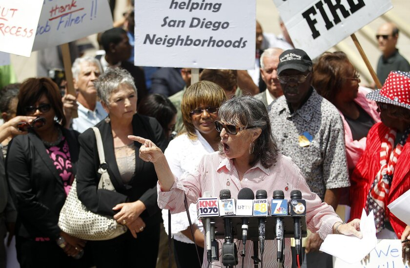 Supporters of San Diego Mayor Bob Filner rallied in his defense at City Hall Monday.