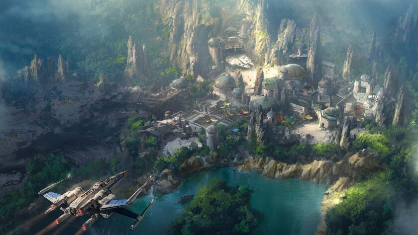 "The latest artist rendition of the ""Star Wars"" land that is under construction in Disneyland shows the Millennium Falcon in a prominent position."