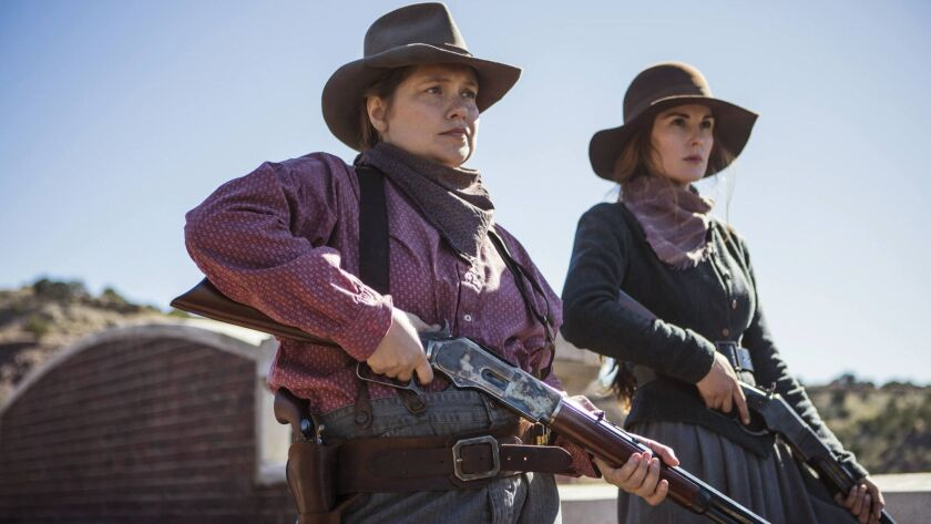 """Merritt Wever, left, and Michelle Dockery in a scene from Netflix's """"Godless."""" The limited series western drama was shot in New Mexico."""