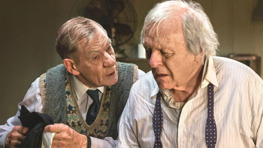"Ian McKellen and Anthony Hopkins in ""The Dresser."""