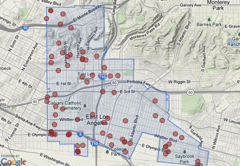 East Los Angeles Map Man shot dead in East Los Angeles   Los Angeles Times