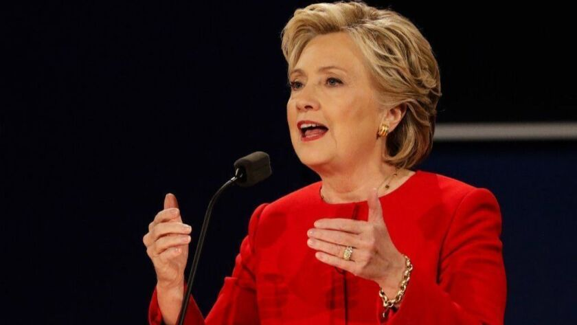 Then-Democratic presidential nominee Hillary Clinton speaks during a debate with Republican nominee Donald Trump on Sept. 26, 2016.