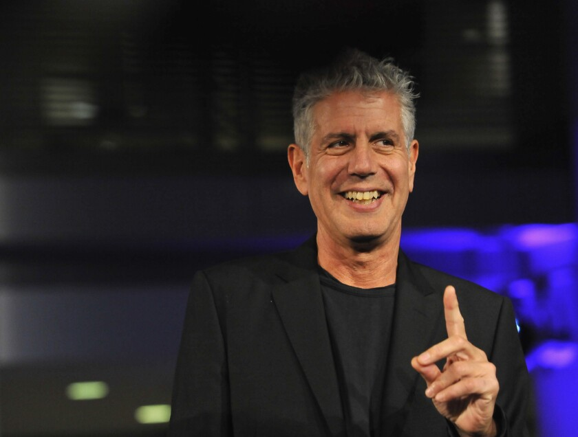 Anthony Bourdain onstage at an event in Washington, D.C., in 2014.