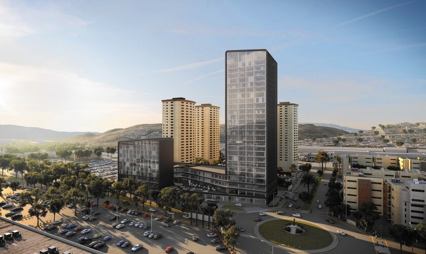 The owners of New City Medical Plaza in Tijuana envision a 26-story tower with doctors offices, a medical lab, a surgery center and an adjacent 140-room hotel.
