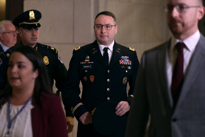 Army Lt. Col. Alexander Vindman, a Ukraine expert on the National Security Council staff,