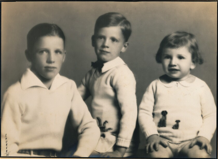 Bill at 12, Ray at 4 and Stan at 2 pose for a photographer while the family lived on Alcatraz Island in 1931.