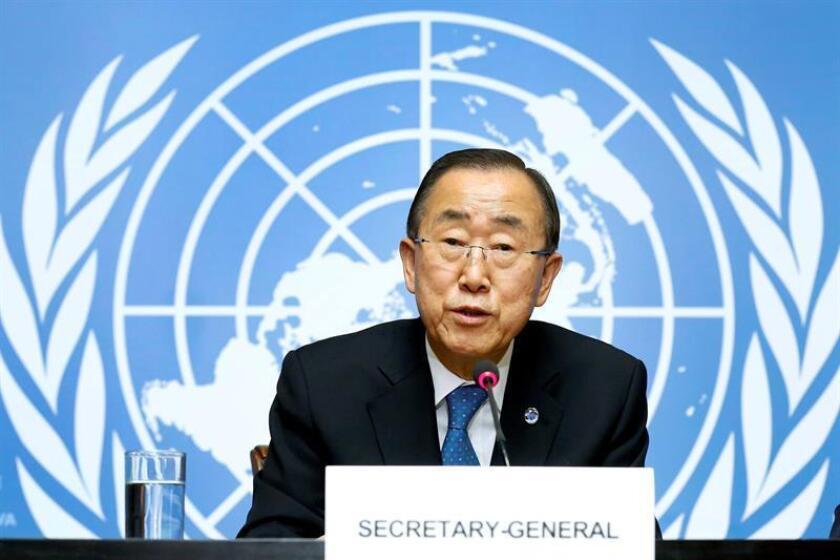 El secretario general de la ONU, Ban Ki-moon, reiteró hoy la necesidad de que los países miembros de Naciones Unidas nombren más mujeres en los altos puestos de la organización. EFE/ARCHIVO
