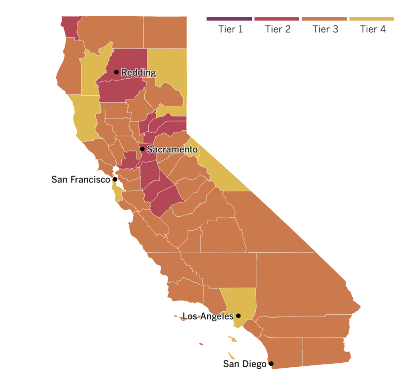 California reopening map: 9 counties in the yellow tier (with Mono and San Mateo joining), 38 orange (Madera joining), 11 red