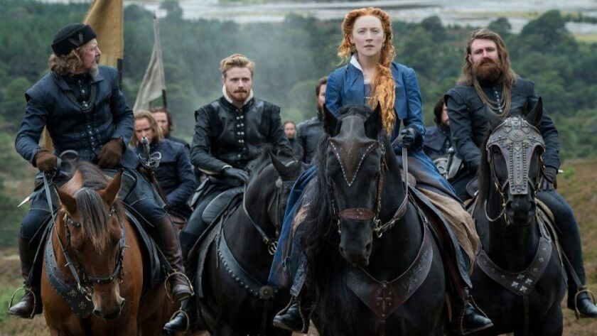 """Ian Hart as Lord Maitland, from left, Jack Lowden as Lord Darnley, Saoirse Ronan as Mary Stuart and James McArdle as the Earl of Moray in the historical drama """"Mary Queen of Scots."""""""