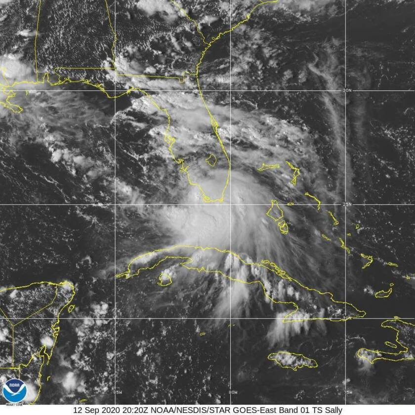 This Saturday image provided by NOAA shows the formation of Tropical Storm Sally.