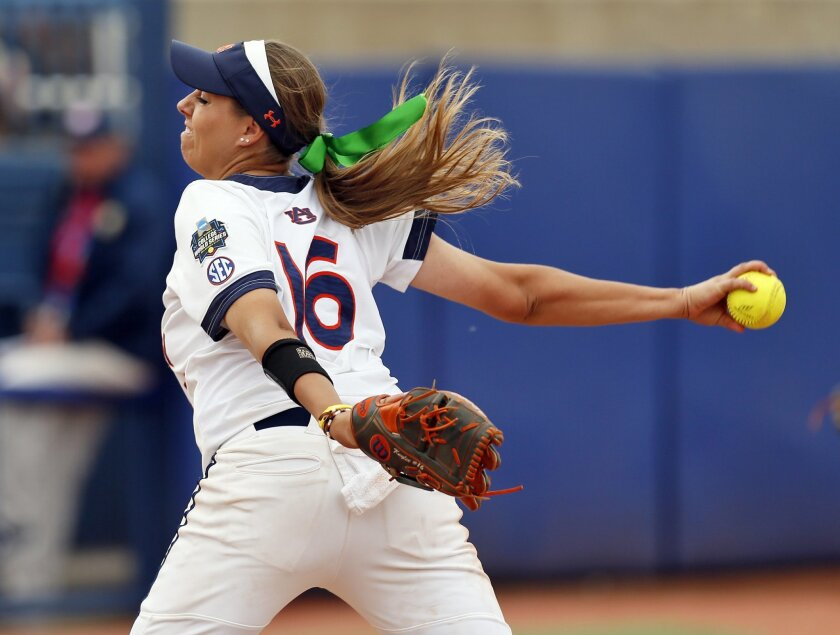 Auburn's Kaylee Carlson (pitches against UCLA during a softball game in the NCAA Women's College World Series in Oklahoma City, Thursday, June 2, 2016. Auburn won 10-3. (Nate Billings/The Oklahoman via AP)