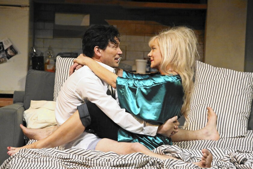 """Barry Del Sherman and Glenne Headly star as He and She, actors and estranged lovers who are drawn back together to perform in """"The Last Kiss,"""" a play-within-a-play in Sarah Ruhl's """"Stage Kiss"""" at the Geffen Playhouse."""