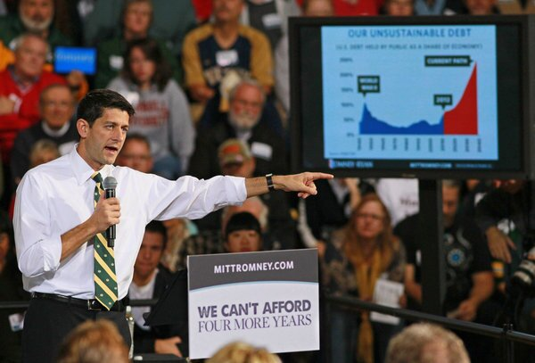 """This is the tax increase that middle-class families will supposedly face if President Obama is re-elected, according to the Romney-Ryan campaign. As the GOP candidate for vice president, Rep. Paul Ryan (R-Wis.), put it Oct. 13, """"President Obama refuses to get serious about spending. And given the president's preference to raise taxes, just to pay the interest on the debt that the president has racked up and proposed, a middle-income family will see their tax bill grow by $4,000 a year."""" The figure comes from a blog post published by the conservative American Enterprise Institute think-tank based on some AEI research, but the institute wasn't estimating the cost of specific Obama proposals. Instead, it was estimating how much of the taxes paid by those making $100,000 to $200,000 would go to paying interest on the national debt. By that measure, Romney and Ryan will """"raise"""" tax bills by $2,732, FactCheck.org reported, adding, """"That's nonsense, too."""""""