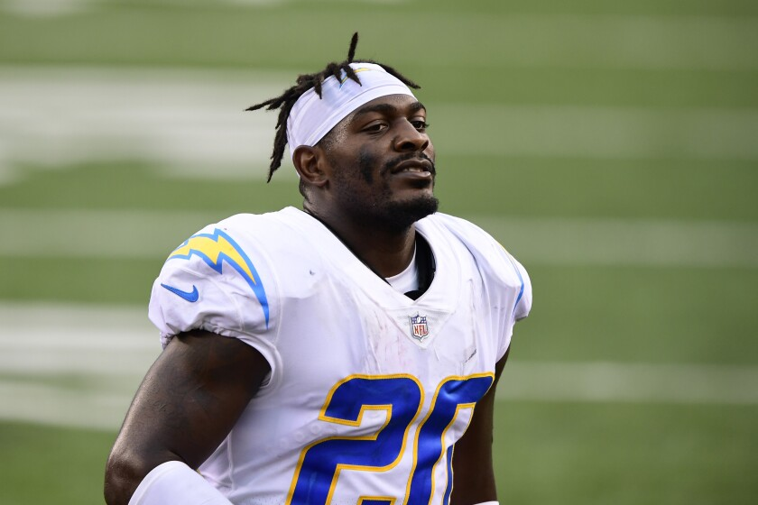 Chargers defensive back Desmond King looks on during a game.