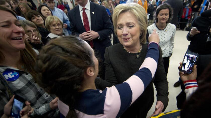 Hillary Clinton, en campaña en Derry, New Hampshire.