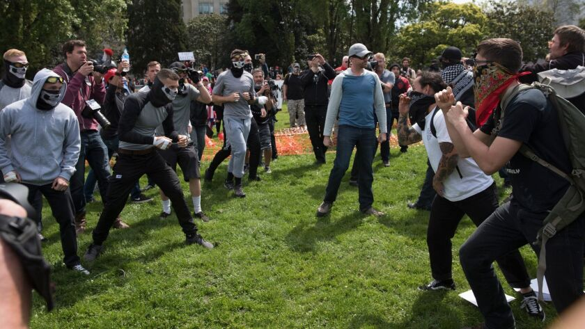 Protesters face off in Berkeley.