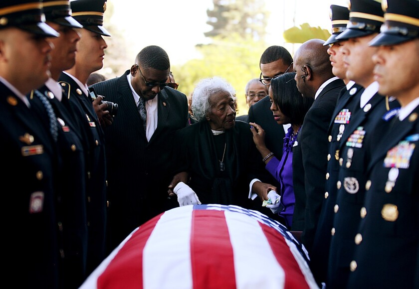 Clara Gantt, 94, arrives for the funeral service for her husband, Army 1st Class Sgt. Joseph Gantt, at the Dwelling Place Foursquare Church in Inglewood on Saturday.