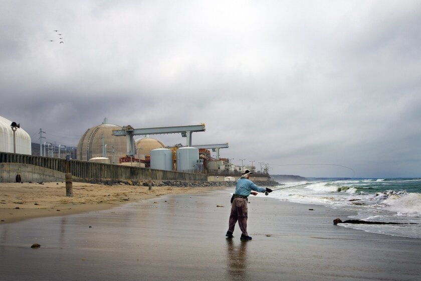 An angler fishing off the beach near the San Onofre Power Plant.