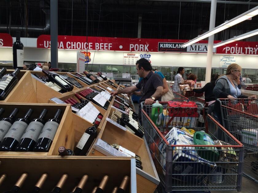 Wine shoppers at Costco in Los Feliz