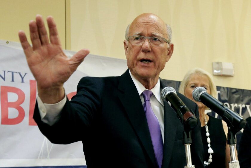 U.S. Sen. Pat Roberts makes his victory speech at a Johnson County Republican's election watch party Tuesday, Aug. 5, 2014, in Overland Park, Kan. Roberts defeated tea party-backed challenger Milton Wolf. (AP Photo/Charlie Riedel)