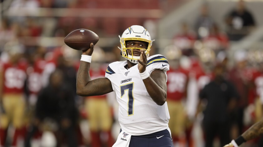 Los Angeles Chargers quarterback Cardale Jones against the San Francisco 49ers during an NFL preseason football game in Santa Clara on Thursday.