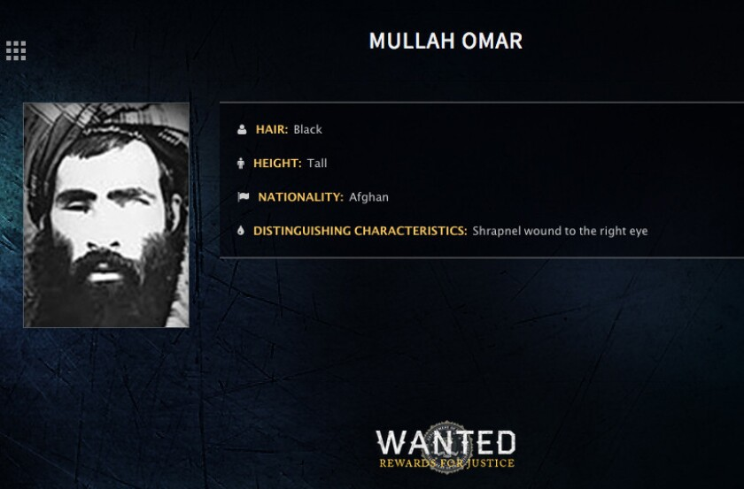 In this image released by the FBI, Mullah Mohammed Omar is seen in a wanted poster.