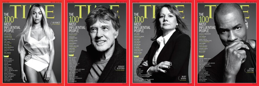 While Beyonce has snagged the main cover for Time's 100 Most Influential issue, Robert Redford, Mary Barra and Jason Collins each have covers inside the issue.