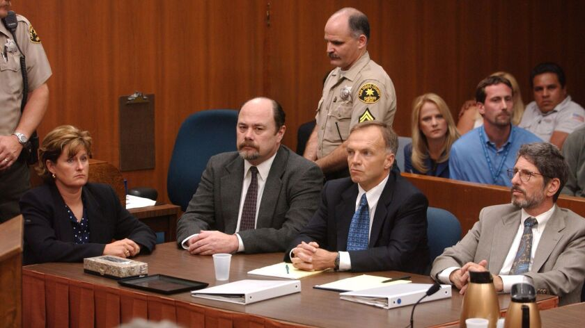Sitting at table from left, Laura Schaefer, defendant David Westerfield, defense attorney Robert Bo