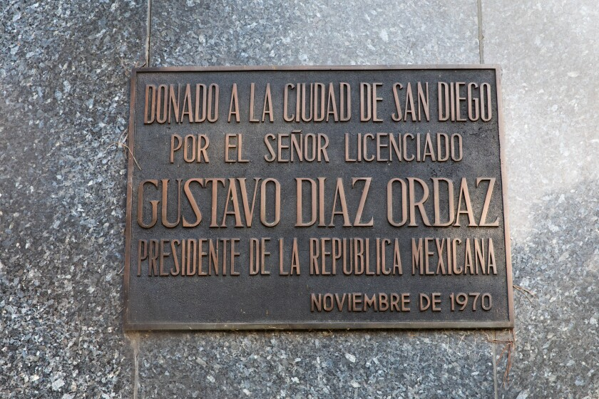 The plaque below the statue says it was donated by Mexico's former President Gustavo Diaz Ordaz