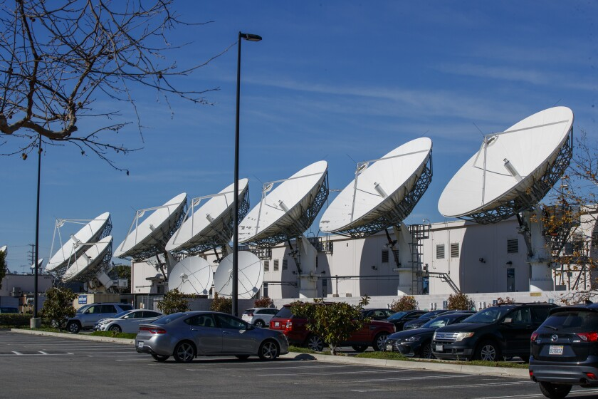 DirecTV satellite dishes at AT&T's Los Angeles Broadcast Center in Culver City.